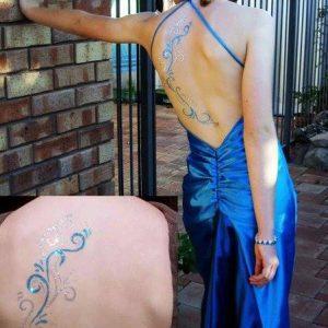 glitter tattoo on the back